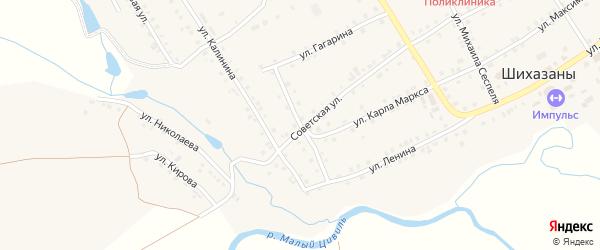Пролетарская улица на карте села Шихазаны с номерами домов