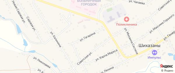 Улица Гагарина на карте села Шихазаны с номерами домов
