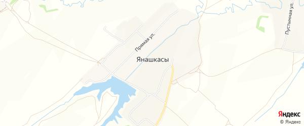 Карта деревни Янашкас в Чувашии с улицами и номерами домов