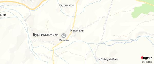 Карта хутора Какмахи в Дагестане с улицами и номерами домов