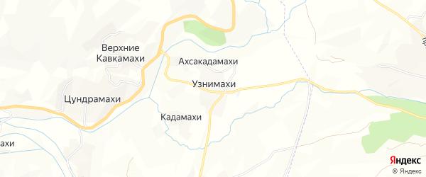 Карта хутора Узнимахи в Дагестане с улицами и номерами домов