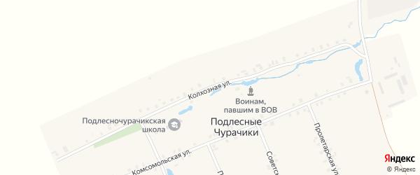 Колхозная улица на карте деревни Подлесные Чурачики с номерами домов