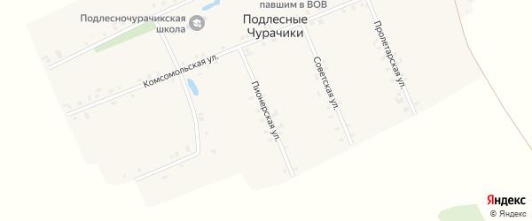 Пионерская улица на карте деревни Подлесные Чурачики с номерами домов