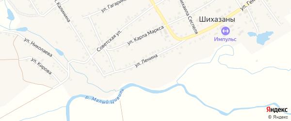 Улица Ленина на карте выселков Шихазаны с номерами домов