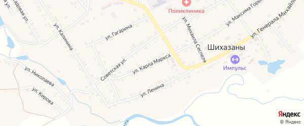 Улица К.Маркса на карте села Шихазаны с номерами домов