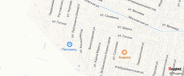 Виноградная улица на карте поселка Семендера с номерами домов
