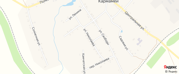 Улица Николаева на карте деревни Кармамеи с номерами домов