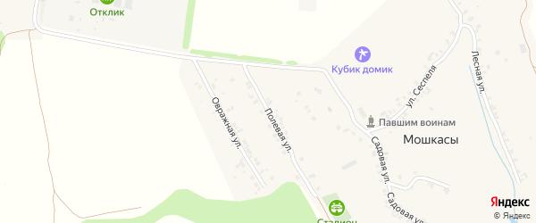 Полевая улица на карте деревни Мошкас с номерами домов