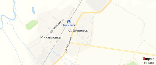 Карта станции Цивильска в Чувашии с улицами и номерами домов