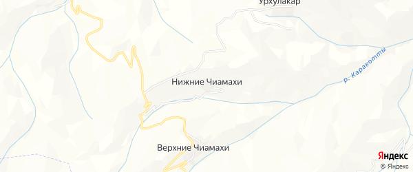 Карта хутора Нижнего Чиамахи в Дагестане с улицами и номерами домов