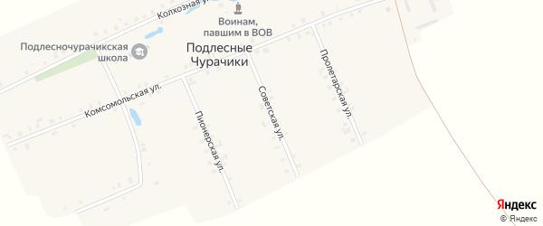 Советская улица на карте деревни Подлесные Чурачики с номерами домов