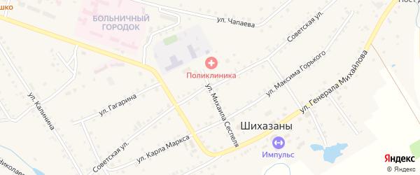 Советская улица на карте села Шихазаны с номерами домов