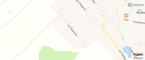 Улица Пушкина на карте деревни Асаново с номерами домов