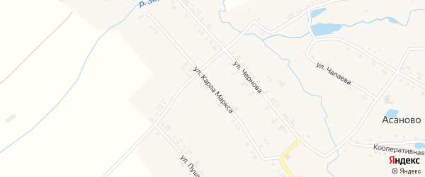 Улица К.Маркса на карте деревни Асаново с номерами домов