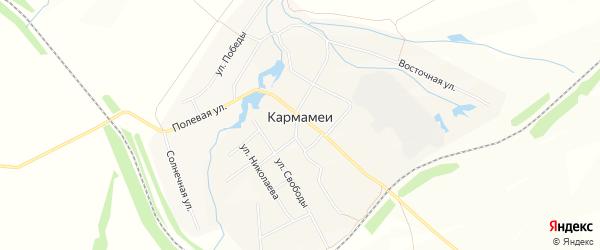 Карта выселков Кармамеи в Чувашии с улицами и номерами домов