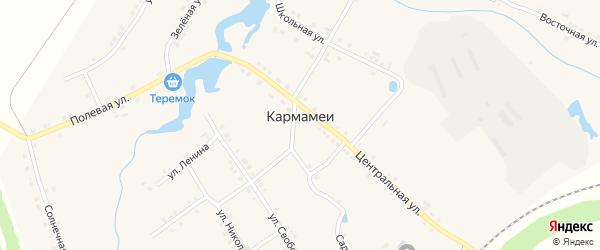 Казарма 293 км на карте деревни Кармамеи с номерами домов