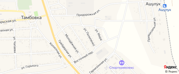 Улица Пилипенко на карте села Тамбовки с номерами домов