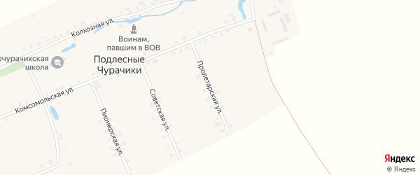 Пролетарская улица на карте деревни Подлесные Чурачики с номерами домов