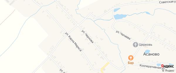 Улица Чернова на карте деревни Асаново с номерами домов