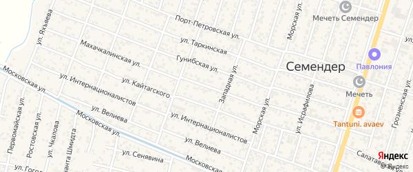Махачкалинская улица на карте поселка Семендера с номерами домов