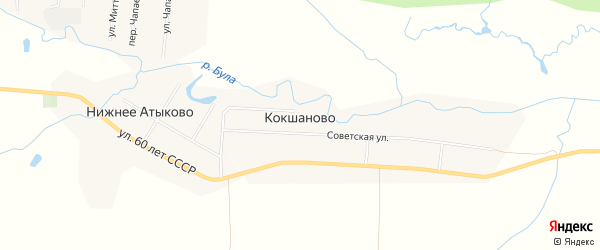 Карта деревни Кокшаново в Чувашии с улицами и номерами домов