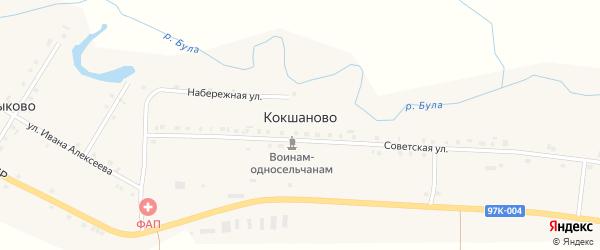 Набережная улица на карте деревни Кокшаново с номерами домов