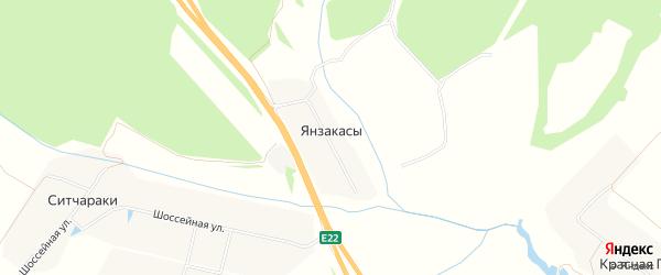 Карта деревни Янзакасы в Чувашии с улицами и номерами домов