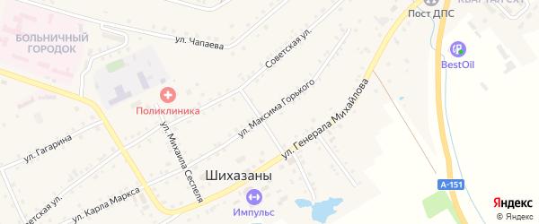 Улица М.Горького на карте села Шихазаны с номерами домов