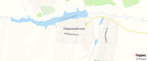 Карта деревни Первомайского в Чувашии с улицами и номерами домов