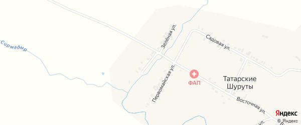 Зеленая улица на карте деревни Татарские Шуруты с номерами домов