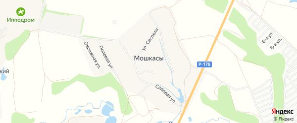Карта деревни Мошкас в Чувашии с улицами и номерами домов