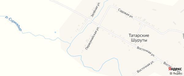 Первомайская улица на карте деревни Татарские Шуруты с номерами домов