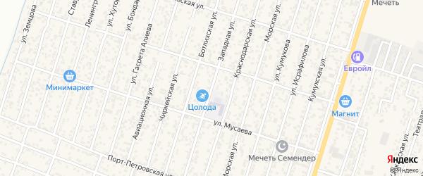 Западная улица на карте поселка Семендера с номерами домов