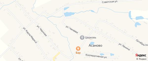 Улица Чапаева на карте деревни Асаново с номерами домов