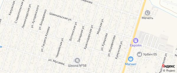 Краснодарская улица на карте поселка Семендера с номерами домов