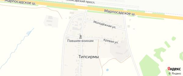 Кривая улица на карте деревни Типсирмы с номерами домов