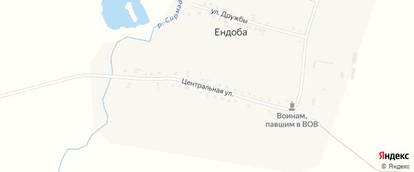 Центральная улица на карте деревни Ендобы с номерами домов