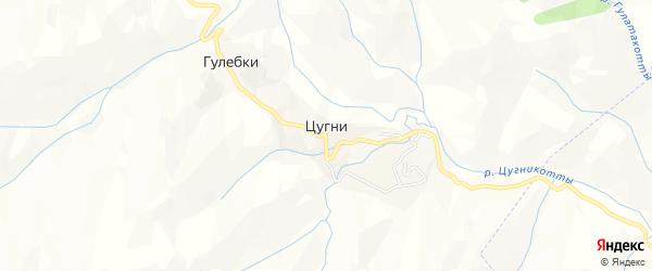 Карта села Цугни в Дагестане с улицами и номерами домов