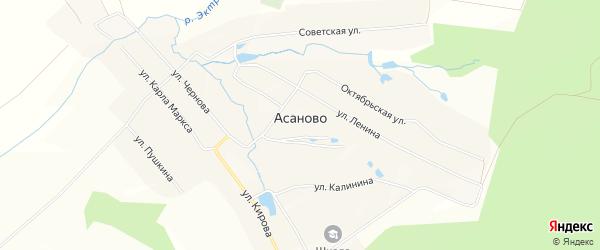 Карта деревни Асаново в Чувашии с улицами и номерами домов