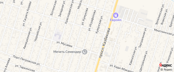 Улица Исрафилова на карте поселка Семендера с номерами домов