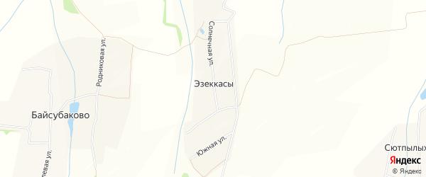 Карта деревни Эзеккас в Чувашии с улицами и номерами домов