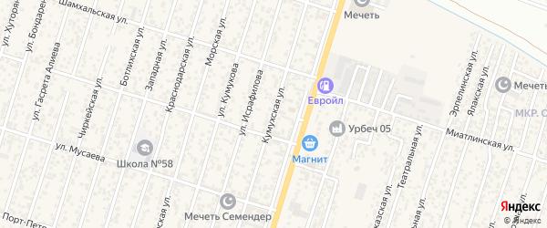 Кумухская улица на карте поселка Семендера с номерами домов