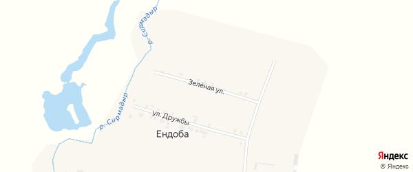 Зеленая улица на карте деревни Ендобы с номерами домов