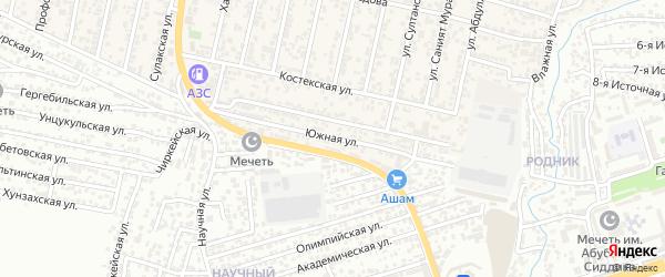 Южная улица на карте поселка Семендера с номерами домов