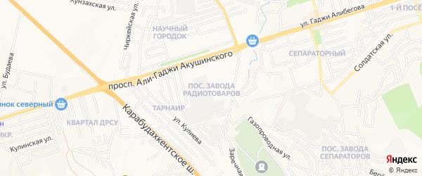 Карта микрорайона Радиотоваров города Махачкалы в Дагестане с улицами и номерами домов
