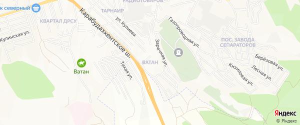 Карта микрорайона Ватана города Махачкалы в Дагестане с улицами и номерами домов