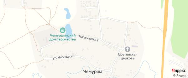 Магазинная улица на карте села Чемурши с номерами домов