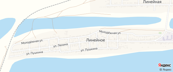 Молодежная улица на карте Линейного села с номерами домов