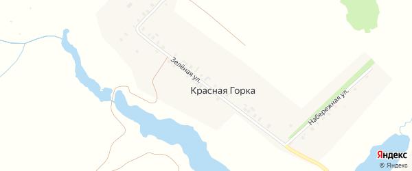 Зеленая улица на карте деревни Красной Горки с номерами домов