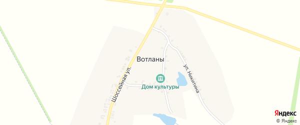Клубная улица на карте деревни Вотланы с номерами домов